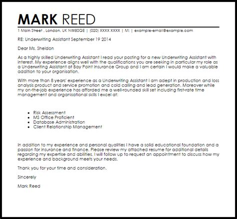Underwriting Manager Cover Letter by Underwriting Assistant Cover Letter Sle Livecareer