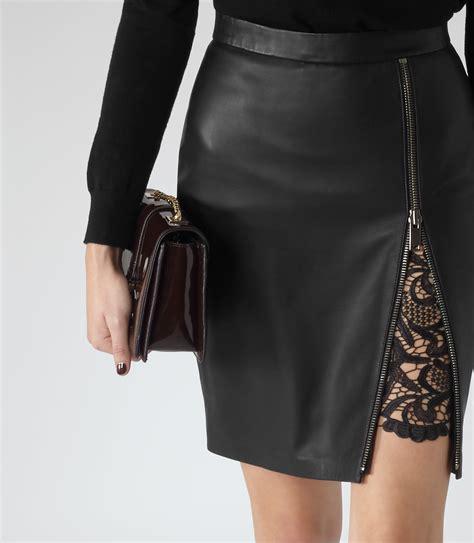 reiss mckayla lace insert leather skirt in black lyst