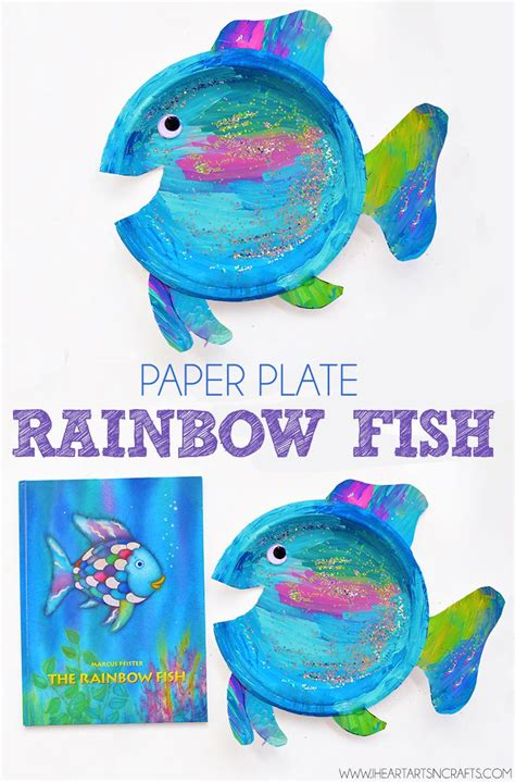 Paper Plate Fish Craft - paper plate rainbow fish craft colored paper crafts for