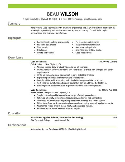 Best Resume Format To Get Hired by Best Lube Technician Resume Example Livecareer