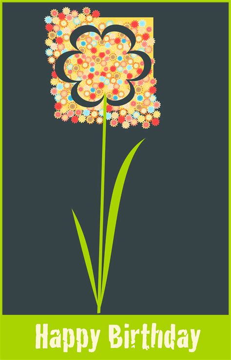 Artistic Birthday Cards Free Printable Huge Flower Happy Birthday Card Happy