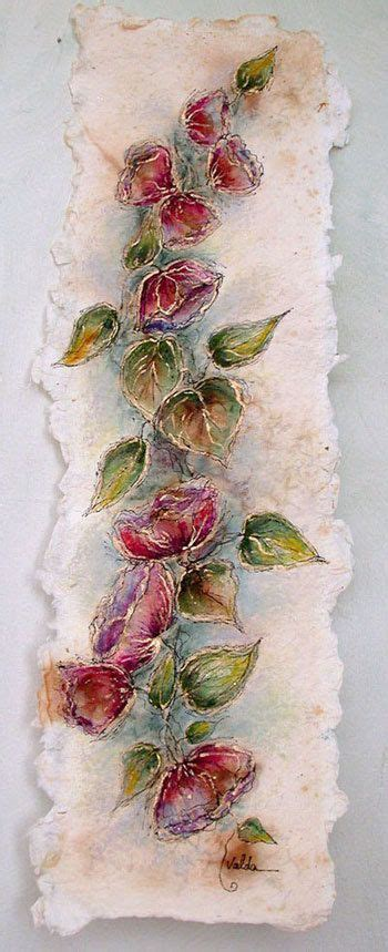 Marketplace For Handmade Items - flowers and leaves 300 6x22 painting on made paper