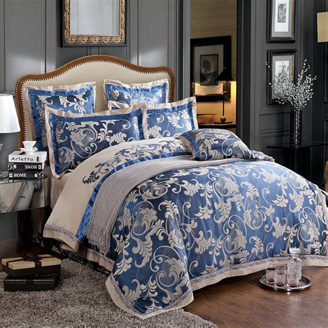 grey and blue bedding 6pc luxury chinese silk duvet cover set dark blue and grey jacquard and embroidery