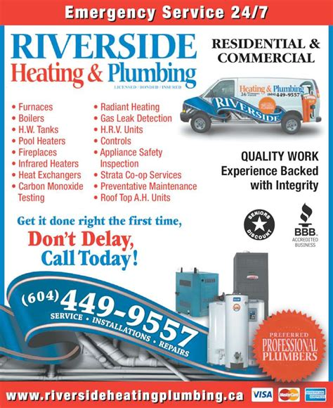 Bc Heating And Plumbing by Riverside Heating Plumbing Opening Hours 204 20445