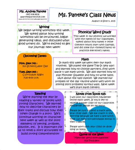 8 Classroom Newsletter Templates Free Sle Exle Format Download Free Premium How To Write A Newsletter Template