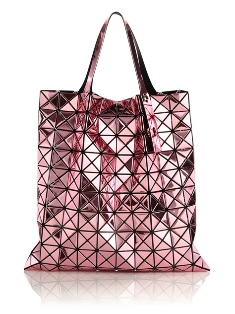 Bao Bao B621 5 bao bao issey miyake pink platinum faux patent leather tote lyst