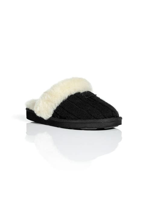 ugg slippers cozy knit ugg black cozy knit slippers in black lyst