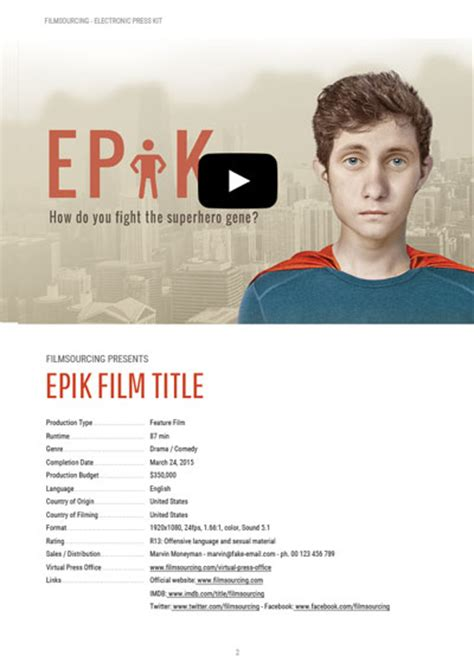 epk electronic press kit tutorial free templates for film