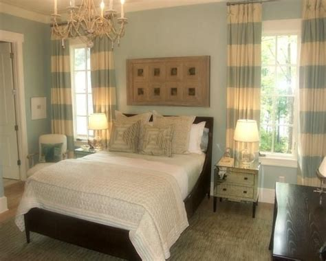 Master Bedroom Curtains Espresso Furniture Light Blue Walls Striped Curtains White Bedding Accents A Gorgeous
