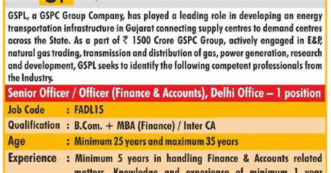 Mba Finance In Gujarat by Gujarat State Petronet Limited Gspl Recruitment For