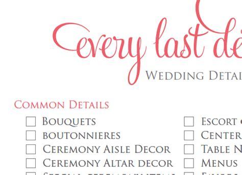 Wedding Checklist Details by Wedding Detail Checklist Wedding Planning Checklist
