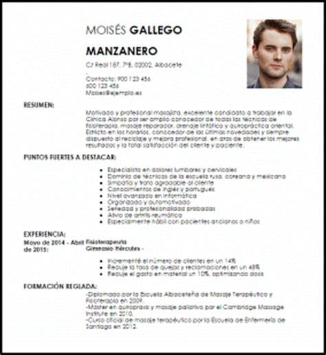 Modelo Curricular Mexicano Modelo Curriculum Vitae Masajista Terap 233 Utico Livecareer