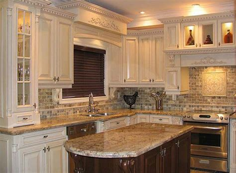 Contemporary Kitchen Ideas With Brown Natural Stone Subway Tile Backsplash Lowes