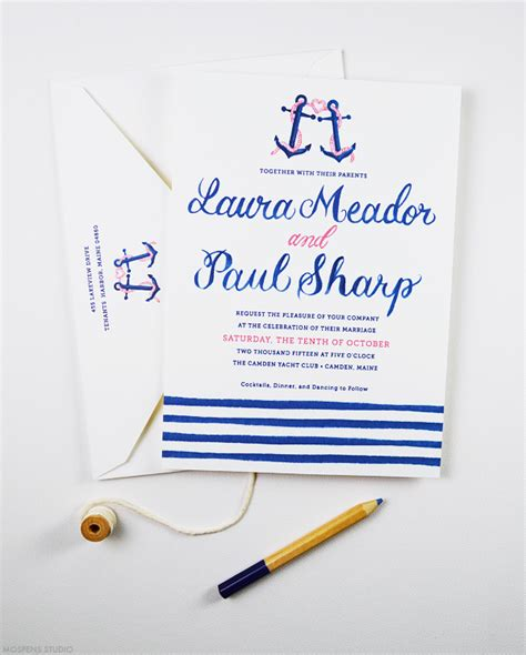 Boat Themed Wedding Invitations by Nautical Wedding Invitations With Anchor