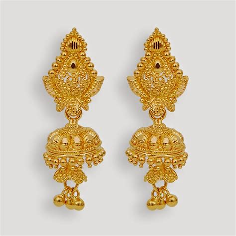 gold jhumka earrings design with price new bridal gold jhumka designs 2014 2015 image
