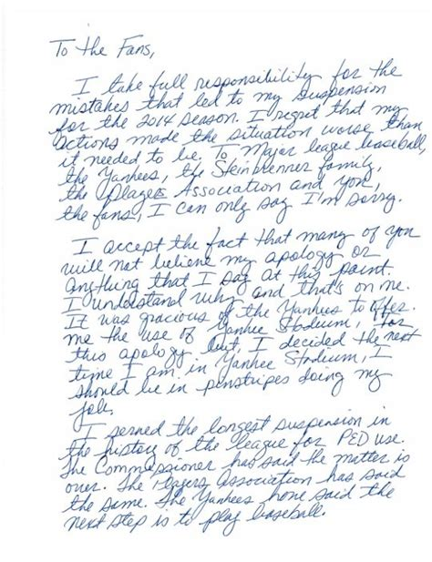 Apology Letter To Yahoo A Rod Releases Handwritten Apology Letter To Baseball Fans Big League Stew Yahoo Sports
