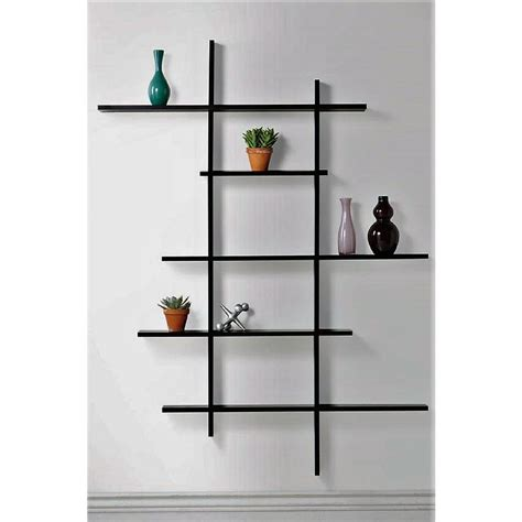floating shelves homeintheheights 49 75 in x 6 in black deluxe 5 shelf tall floating 763
