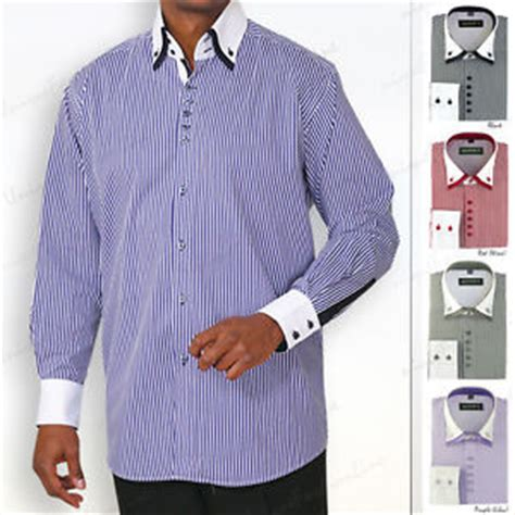 s dress shirt layered collar square button striped two tone style 606 ebay