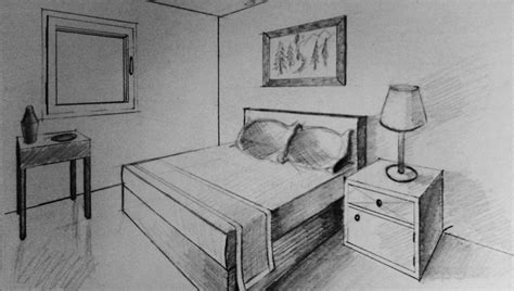 interior perspective of a bedroom two point perspective interior drawing drawing art library