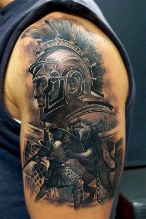 tattoo of us fight accurate painted colored shoulder tattoo of gladiator