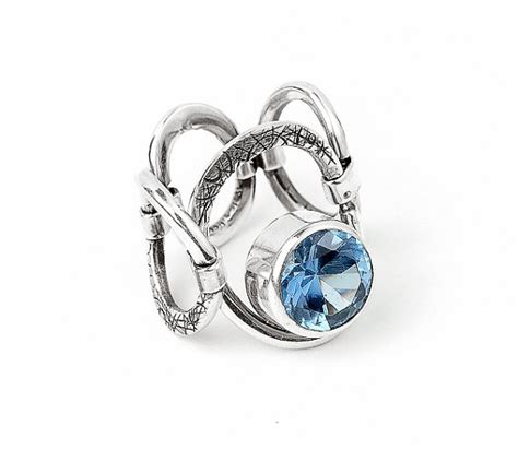 blue topaz ring ring sterling silver 925 unique