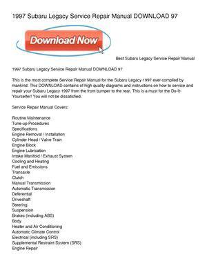 small engine maintenance and repair 1997 subaru legacy security system calam 233 o 1997 subaru legacy service repair manual download 97