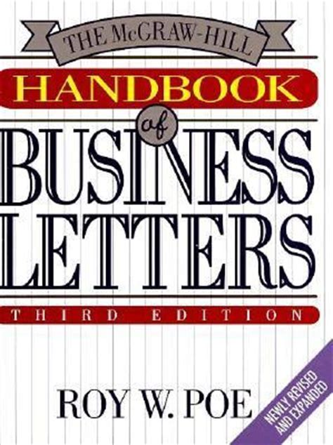 business letters handbook the mcgraw hill handbook of business letters roy w poe