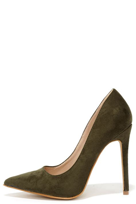 olive green high heels olive green pumps suede pumps pointed pumps 34 00