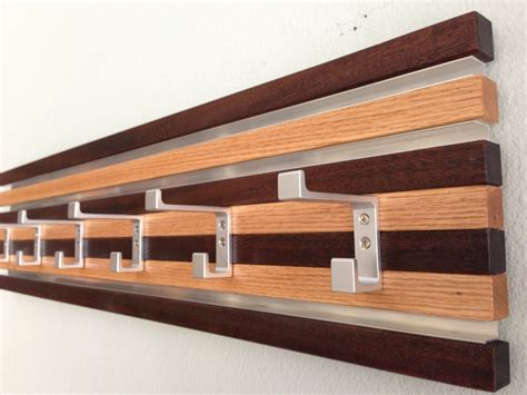 Wall Hanging Coat Rack by Coat Rack Wall Hanging 6 Hook Wood Metal Modern Oak