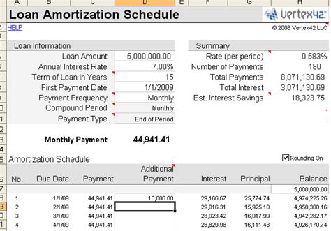 free loan amortization schedule calculator