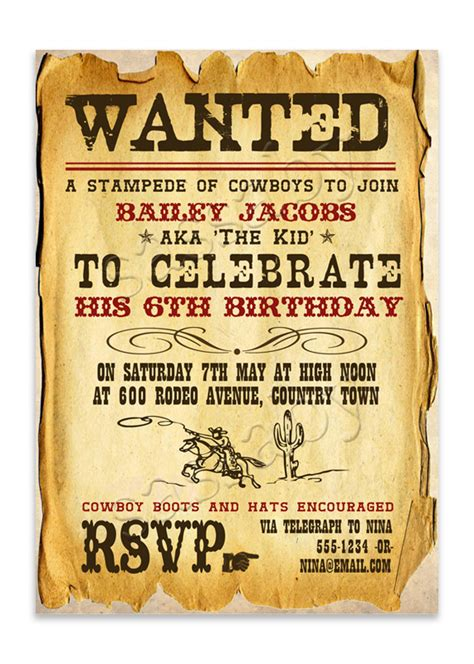 wild west cowboy invitation sassaby parties