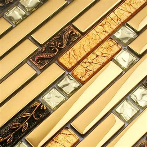 luxury wall tiles kitchen bathroom commercial luxury metal mosaic strip glass mixed stainless steel