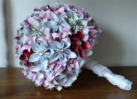Origami Bridal Bouquet - origami wedding bouquet purple