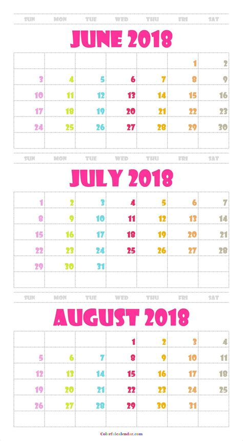june july august  calendar  color  calendar