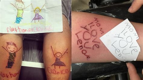 kid tattoos these parents turned their drawings into