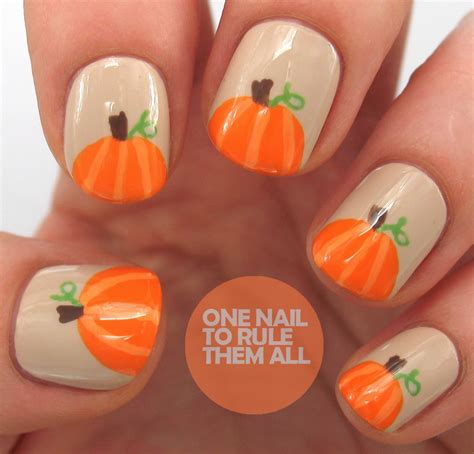 pumpkin nail design one nail to rule them all then and now pumpkins tutorial