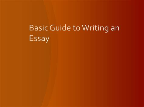 Guide To Writing A Basic Essay by Basic Guide To Writing An Essay