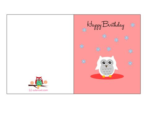 printable birthday cards for a teenage girl free printable cute owl birthday cards