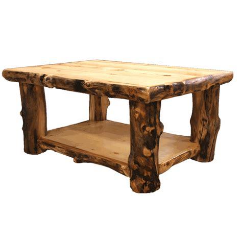 rustic coffee tables aspen log trim coffee table black
