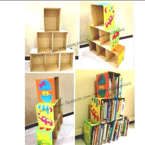 cardboard box bookshelf diy cardboard crafts