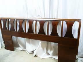 mahogany wooden mid century modern headboard bed