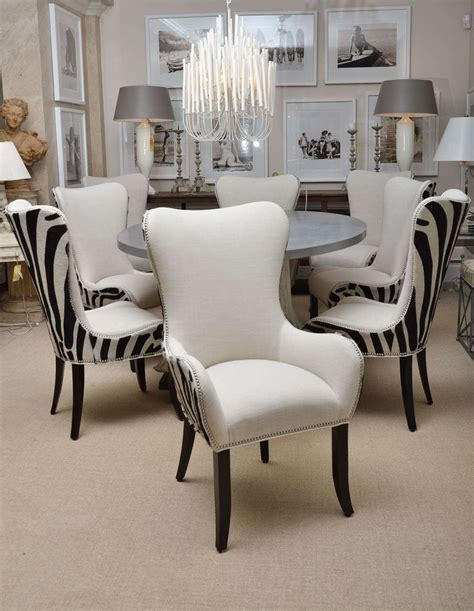 zebra dining room chairs set of eight zebra stenciled cowhide dining chairs for