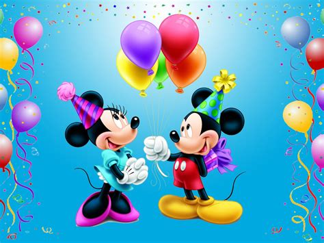mickey mouse happy birthday minnie celebration balloons gifts  mini disney picture wallpaper