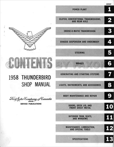 service manual free online auto service manuals 1958 ford thunderbird head up display 1958