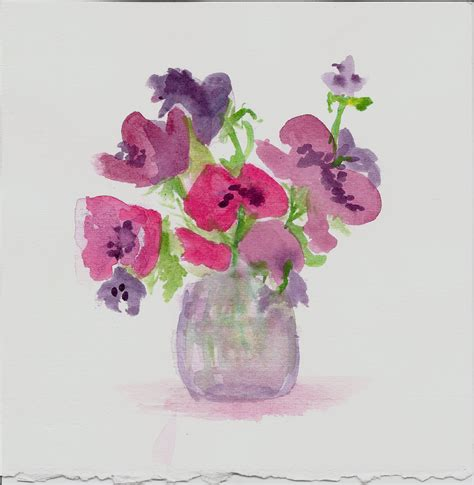 Flowers In Vase With Water by M Graham Watercolor Imitates Doodles