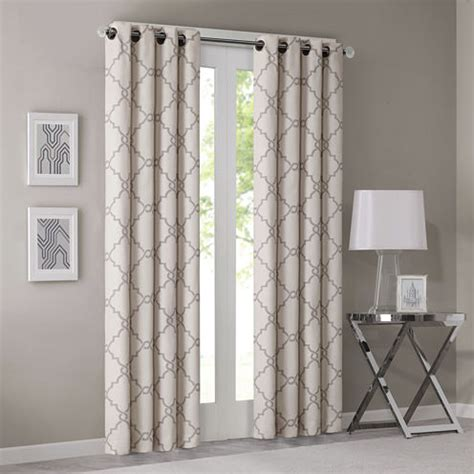 stationary curtain rod madison park westmont fretwork print grommet top curtain