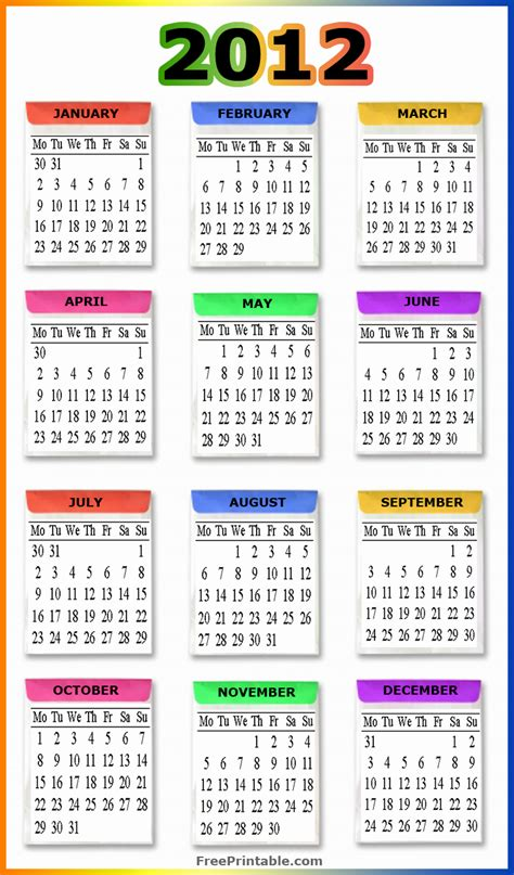 Calendar Of 2012 2012 Calendar Printable New Calendar Template Site