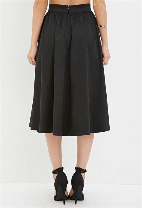 forever 21 a line midi skirt in black lyst