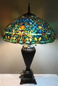 tiffany style stained glass table lamp quot azure sea quot w 20 quot shade ebay