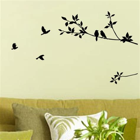 birds on branch tree vinyl wall art sticker decal art tree branch and birds diy removable wall decal for living